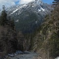 Stillaguamish River with Marble Mountain (5,111').- Big Four Ice Caves
