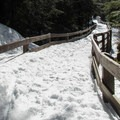 Footbridge over the South Fork Stillaguamish River.- Big Four Ice Caves
