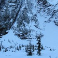 Big Four Ice Caves beneath winter snowpack.- Big Four Ice Caves