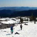 The route descends along the aptly named Worm Flows.- Mount St. Helens: Worm Flows Snowshoe