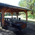 Picnic shelter at Group Camp 1 in Ocean City State Park.- Ocean City State Park