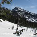Snoqualmie Mountain (6,278') from the lake basin.- Source Lake