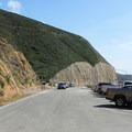 Cars queuing at Devils Slide southern parking lot.- Devils Slide Trail