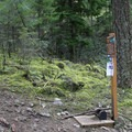 This is the only signage marking the lower trailhead.- Wind Mountain