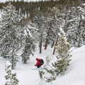 Drops are easy to come by in Powderhouse's east bowl.- Powderhouse Peak