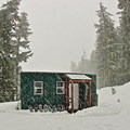 Snowy Barlow Butte Hut (4,030').- Barlow Butte Hut