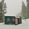 Snowy Barlow Butte Hut (4,030').- Barlow Butte Hut
