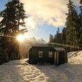Sunrise over Barlow Butte Hut (4,030').- Barlow Butte Hut