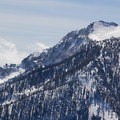 Tahoe's lakeshore preeminence, Mount Tallac (9,739'), as seen from Jake's. The summit bowl beckons. - Jake's Peak