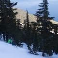 Fun turns above the lake on Jake's.- Jake's Peak