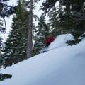 Finding pockets on Jake's Peak.- Jake's Peak