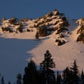 Alpenglow lights up Mount Diller's south face.- Mount Diller Backcountry Ski: Southwest Chute