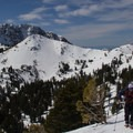 Heading up to the Mount Diller - Pilot Pinnacle saddle.- Mount Diller Backcountry Ski: Southwest Chute