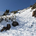 A final bootpack finishes up the climb to Diller's summit ridge.- Mount Diller Backcountry Ski: Southwest Chute