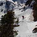 Dropping into the southwest chute.- Mount Diller Backcountry Ski: Southwest Chute