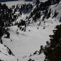 Diller's southwest chute and the lower slopes above Ridge Lakes.- Mount Diller Backcountry Ski: Southwest Chute