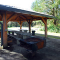 Picnic shelter at Group Camp 1 in Ocean City State Park Campground.- Ocean City State Park Campground