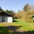 Restroom and shower facility in Ocean City State Park Campground.- Ocean City State Park Campground