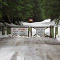 County gate near the trailhead at Barlow Pass.- Monte Cristo Ghost Town