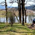 Mountain biker on the top of Cascade Locks Mountain Bike Trails.- Cascade Locks Mountain Bike Trails