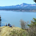 Mountain bikers enjoying the view at the west end of the park.- Cascade Locks Mountain Bike Trails