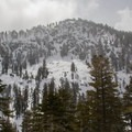 Hidden Peak's summit as seen from the upper bench. The ascent route is on the right ridgeline.- Hidden Peak