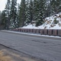The parking pullout for Hidden Peak is differentiated by the erosion barrier on the west side of Highway 89.- Hidden Peak