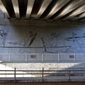 A mural under the new Whilamut Passage Bridge, which carries I-5 over the Willamette River between Eugene and Springfield.- Ruth Bascom Riverbank Trail System