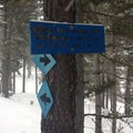 The intersection of the loop and the trail to Iron Creek.- Old Blewett Pass Highway Ski Trails