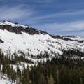 Castle Peak's southern aspect. The main ascent route climbs the left (west-facing) shoulder.- Castle Peak