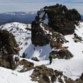 Exploring the summit ridge of Castle Peak.- Castle Peak