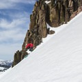 Skiing corn on Castle's south face.- Castle Peak
