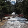 The winter gate and trailhead on Forest Road 7601 at the bridge over Icicle Creek.- Eightmile Creek