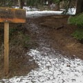 Trail sign near the summer parking area.- Chiwaukum Creek