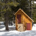Two outhouses are located 75 feet from the hut.- Peter Grubb Ski Hut