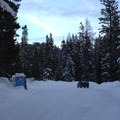 The Pipe Creek Sno-Park, which is irregularly plowed.- Pipe Creek