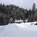 Approaching Blewett Pass Sno-Park. XC-141.1 is hidden in the trees below and to the left of the parking area.- Pipe Creek