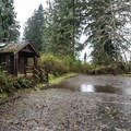 Gatton Creek Campground parking area.- Lake Quinault, Gatton Creek Campground