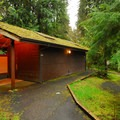 Restroom facilty in Willaby Campground.- Lake Quinault, Willaby Campground