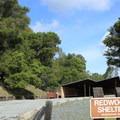 Redwood picnic shelter in Huddart Park.- Huddart Park