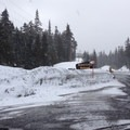 The alternate parking area east of the pass.- White Pass Nordic Center