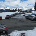 Mount Baker Ski Area upper parking lot and Artist Point winter trailhead.- Artist Point