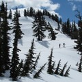 Cross-country skiers on the route.- Artist Point