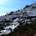 The narrow ridge seen from the Hatchery Creek Trail.- Hatchery Creek