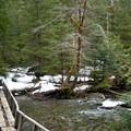 Small bridge crossing on the Barclay Lake Trail.- Barclay Lake Snowshoe
