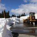 Deep snow in April near the Hurricane Ridge Visitor Center.- Hurricane Ridge