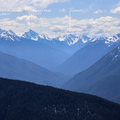 View of the Olympic Mountain Range looking southwest down the Elwha River Valley.- Hurricane Ridge