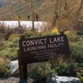 The boat launch at Convict Lake.- Convict Lake Loop Trail