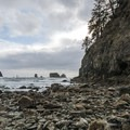 View toward Crying Lady Rock and the Quillayute Needles from La Push, Second Beach.- La Push, Second Beach
