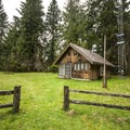 Queets Ranger Station (closed in winter) on Sams River Loop Trail.- Sams River Loop Trail